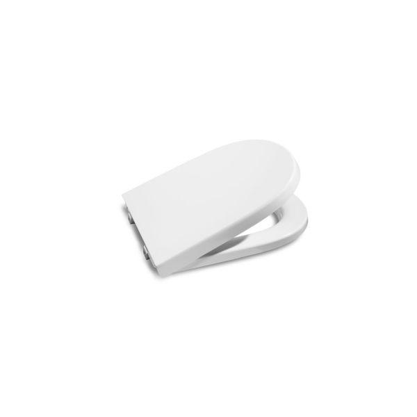Roca Meridian-N kompakt WC ülőke fedéllel lecsapódás gátlóval, rozsdamentes acél zsanérral fehér